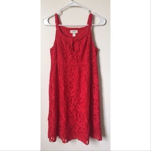 Ann taylor loft red lace keyhole dress size XS