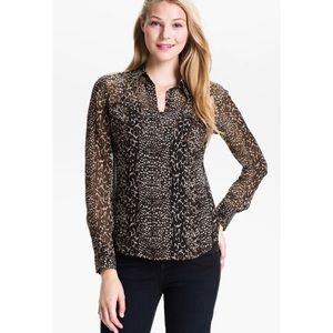 Lucky brand animal print sheer silk blouse size XS