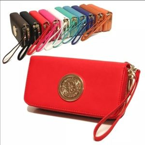 Double zipper cellphone wallet  red color