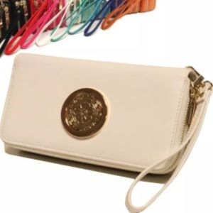 Double zipper cellphone wallet. White color