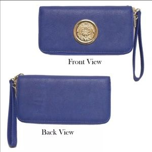 Double zipper cellphone wallet blue color