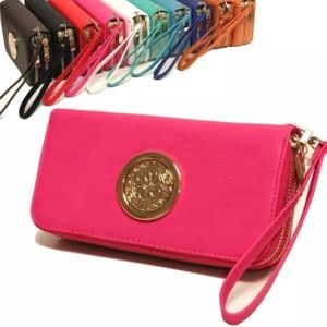 Double zipper cellphone wallet。pink color