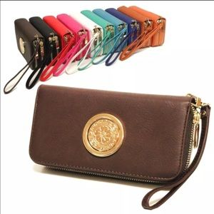 Double zipper cellphone wallet coffees color