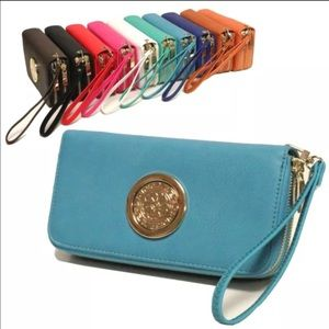 Double zipper cellphone wallet teal color