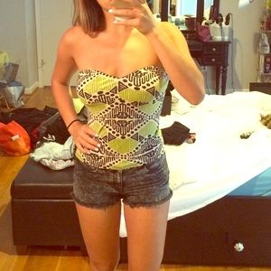 Tribal patterned strapless top