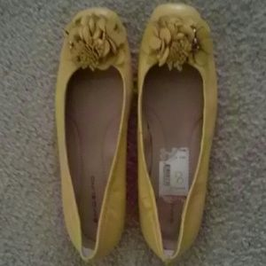 Womens yellow flats leather