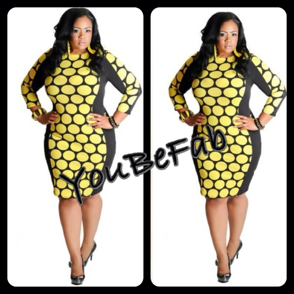 Plus size yellow cocktail dress