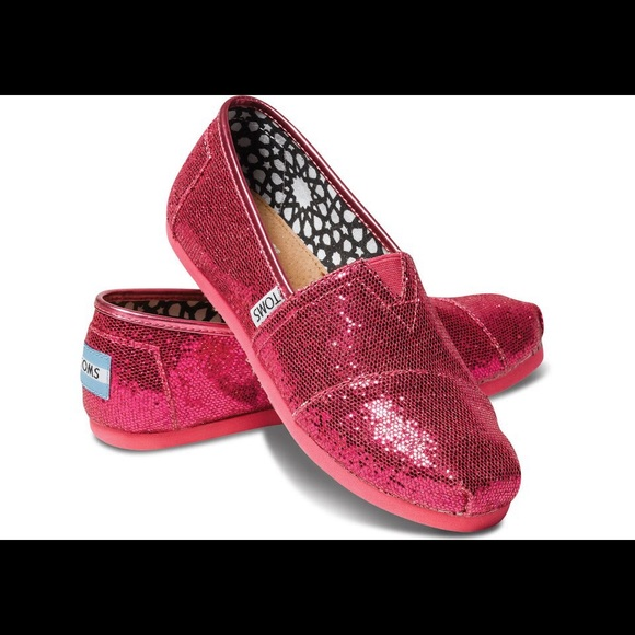 80797256a212 TOMS Shoes | Girl Youth Classics Slipon Hot Pink Glitter | Poshmark