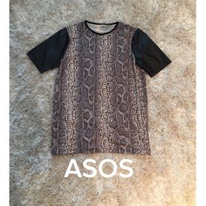 ASOS leather sleeves top in size 2