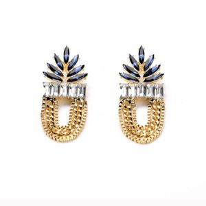 Gold pineapple earrings chain statement studs