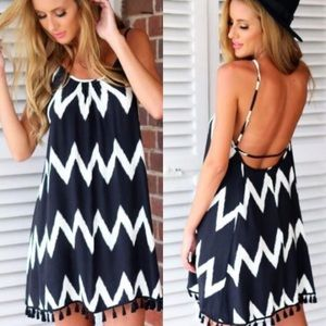 Dresses & Skirts - Black white chevron tassel backless dress cutout