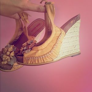 Miss Sixty Shoes - Miss sixty yellow flower wedges.