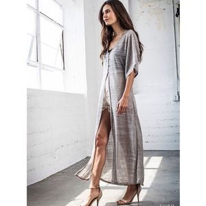 "Bare Anthology Tops - ""Dazzle"" Silver High Low Maxi Top / Duster"