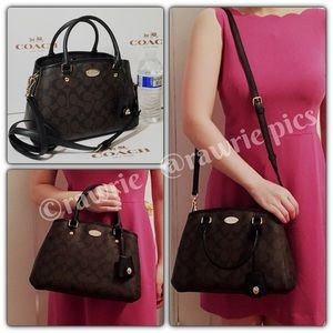 New Coach signature black brown Margot Satchel