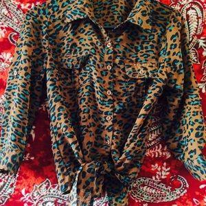 Tops - Cheetah Print Tie Front Blouse