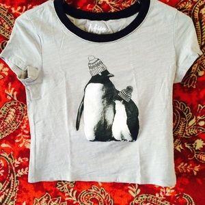 Tops - Cute Penguin Crop Top