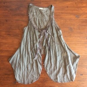 Blue Bird Tops - Boho Vest with Lace Ribbons