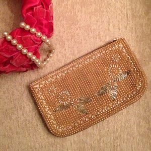 Vintage Regal Coin Purse, Pearls & Floral Motif