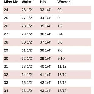 Women s miss me jean size chart on poshmark