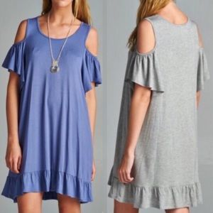 ARIELLA off shoulder ruffle dress- H. GREY