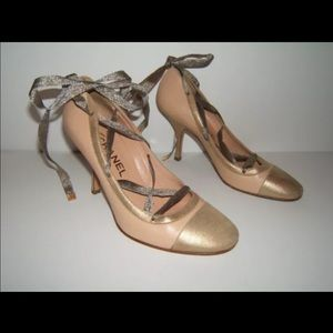 Chanel 37.5 7 sexy ballerina lace up gold heels