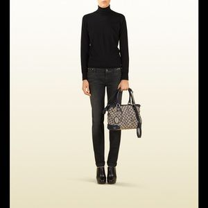 Gucci Handbags - Gucci Sukey BLACK Satchel Canvas and Leather FIRM