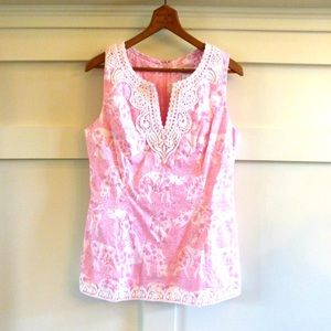 Lilly Pulitzer Tops - Lilly Pulitzer pink run for the roses top tunic