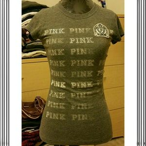 Victoria Secret PINK Grey Graphic Tee - XS