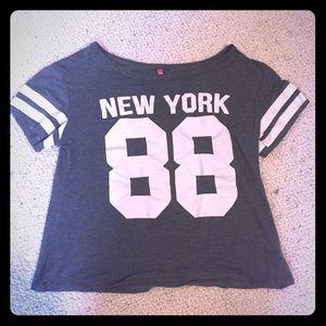 Grey Varsity New York 88 Crop Top