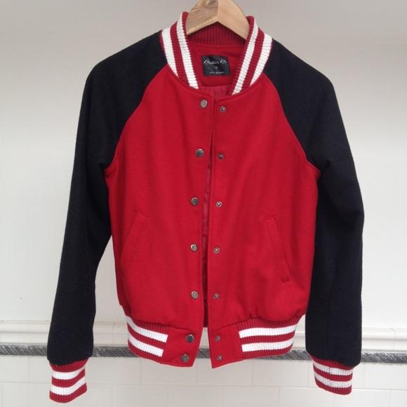 Jackets Coats Junior Womens Black And Red Varsity Jacket Poshmark
