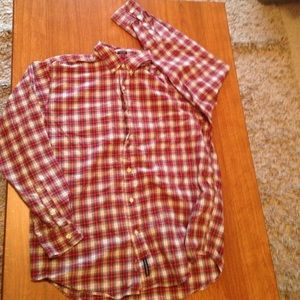 American Eagle Outfitters red plaid button up