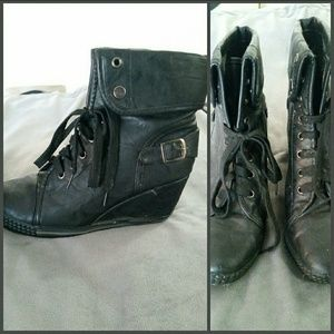 Black wedge style combat boots