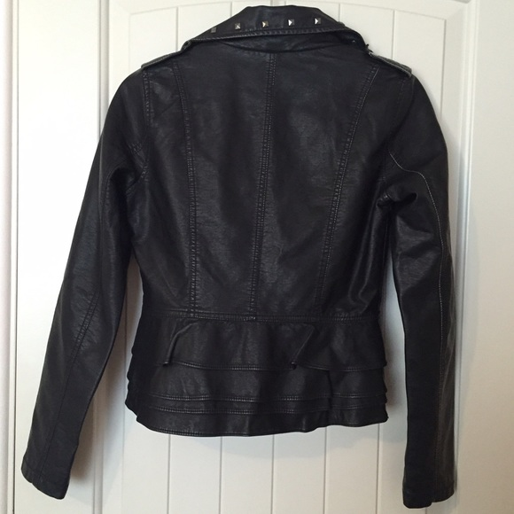 Black Studded Peplum Faux Leather Jacket S from Kenzie's ...
