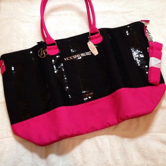 329d3901f313 Victoria s Secret Black and Pink Sequin Duffle Bag