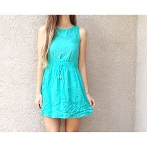 | new | aqua embroidered dress