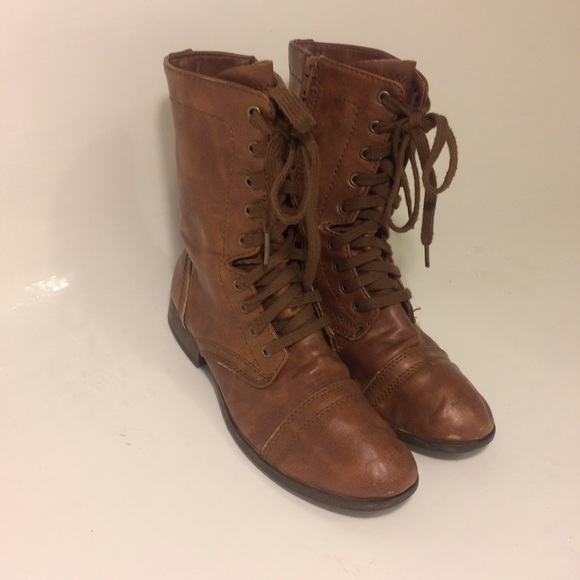 79 candie s boots candie s brown zip up combat