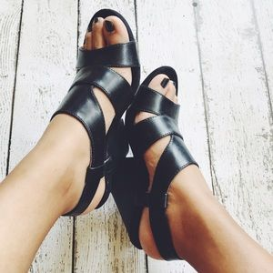 Shoes - Black Wedged Heel