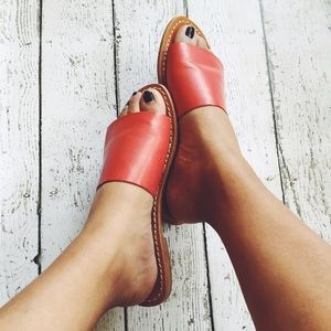Urban Outfitters Shoes - BDG Red Leather Slides
