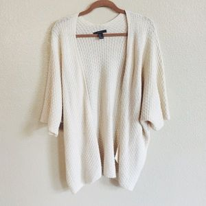 Forever 21 Sweaters - Cream Knit Slouchy Open Cardigan