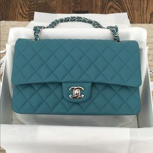 Chanel classic flap bag in blue turquoise lambskin