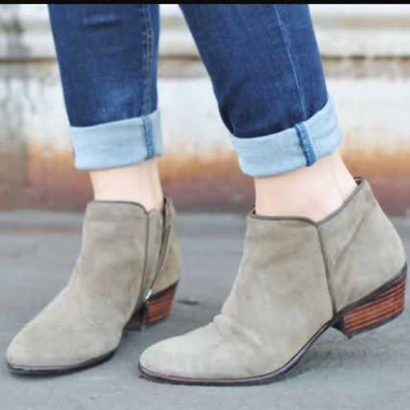 e400001276275 Sam Edelman Suede Tan Petty Boot Ankle Heel Putty.  M 557357e751e9ea14aa003174