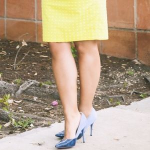 Shoe Dazzle Shoes - Blue Colorblock Embossed Pointed Toe Pumps