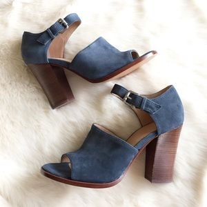 Vince Camuto Shoes - Vince Camuto Blue Suede Chunky Heel Mule