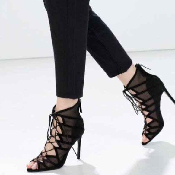 zara lace up heels on Poshmark