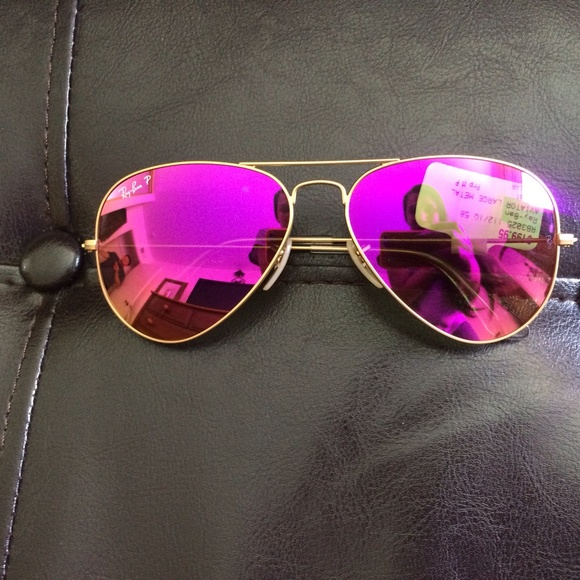 Ray Ban Accessories Pink Mirrored Polarized Aviator