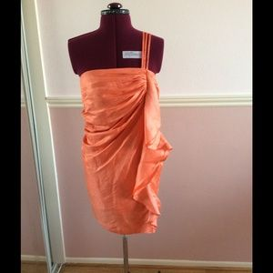 Orange Bandeau Bebe Dress