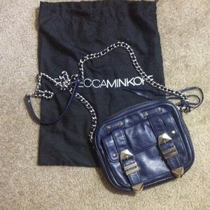 Rebecca Minkoff navy leather boyfriend bag
