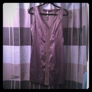 Kensie gray exposed zipper v neck dress