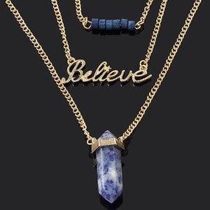 Necklace BELIEVE Bar Blue Stone Pendant