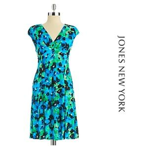 Jones New York Blue Floral Print Dress